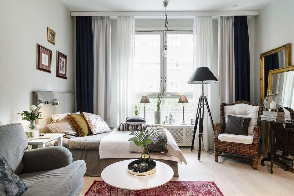 Фотография: Спальня в стиле Скандинавский, Малогабаритная квартира, Квартира, Швеция, Гид, дизайн-гид, малогабаритка, до 40 метров – фото на INMYROOM