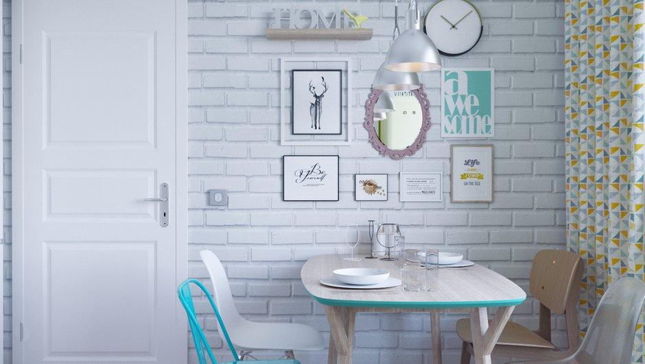 Фотография: Кухня и столовая в стиле Скандинавский, Квартира, Проект недели, 1 комната, 40-60 метров, Монолитно-кирпичный, ЖК «Любимое Домодедово», Домодедово – фото на INMYROOM