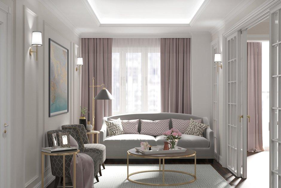 Фотография: Гостиная в стиле Современный, Классический, Квартира, Проект недели, Москва, Монолитный дом, 3 комнаты, Более 90 метров, Тор-Ард – фото на INMYROOM
