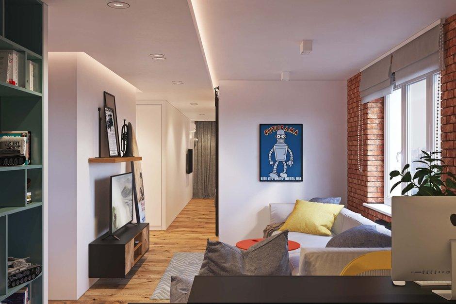 Фотография: Гостиная в стиле Лофт, Квартира, Проект недели, Одинцово, Geometrium, Московская область, Монолитный дом, 2 комнаты, 60-90 метров – фото на INMYROOM