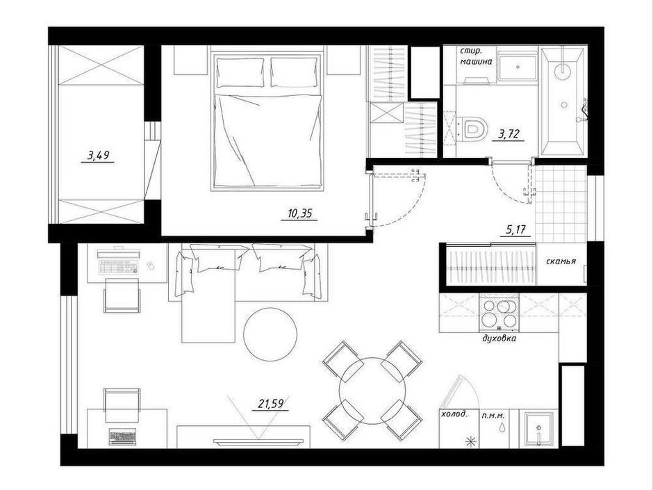 """Фотография: Планировки в стиле , Квартира, Перепланировка, Никита Зуб, Монолитный дом, 1 комната, 40-60 метров, планировочная среда, ЖК """"Тимирязев парк"""" – фото на INMYROOM"""