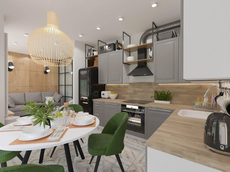 Фотография: Кухня и столовая в стиле Современный, Квартира, Проект недели, Зеленый, Бежевый, Серый, 60-90 метров, ПРЕМИЯ INMYROOM, Bilbao Design – фото на INMYROOM