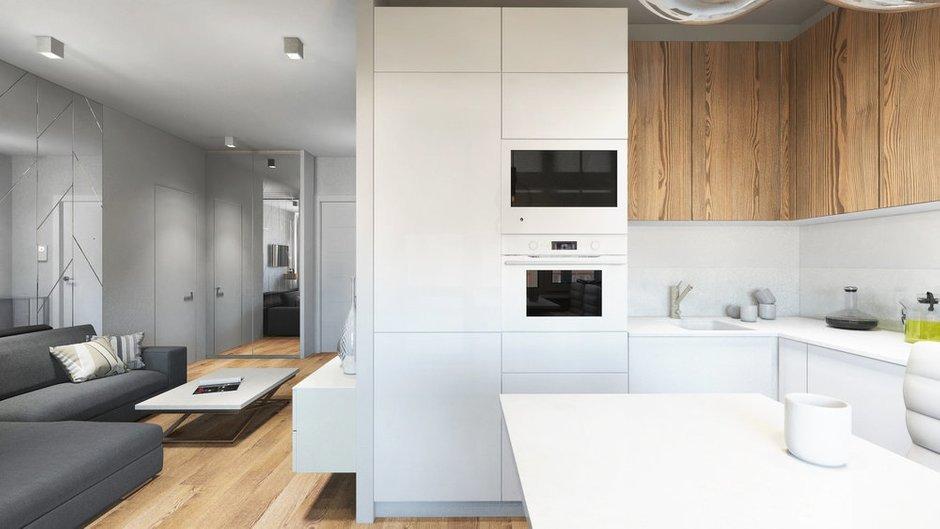 Фотография: Кухня и столовая в стиле Современный, Квартира, Проект недели, Бежевый, Серый, 2 комнаты, 40-60 метров, Олеся Березовская – фото на INMYROOM