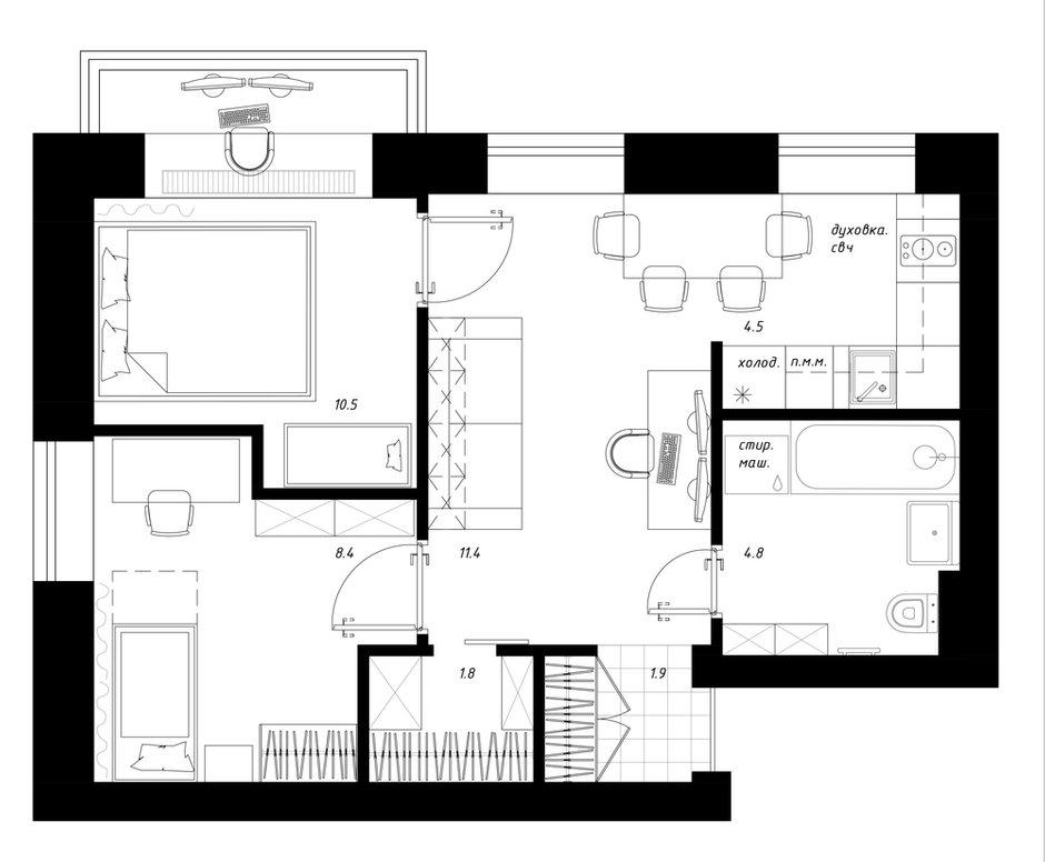 Фотография: Планировки в стиле , Квартира, Перепланировка, Санкт-Петербург, Никита Зуб, 2 комнаты, 40-60 метров, планировочная среда – фото на INMYROOM