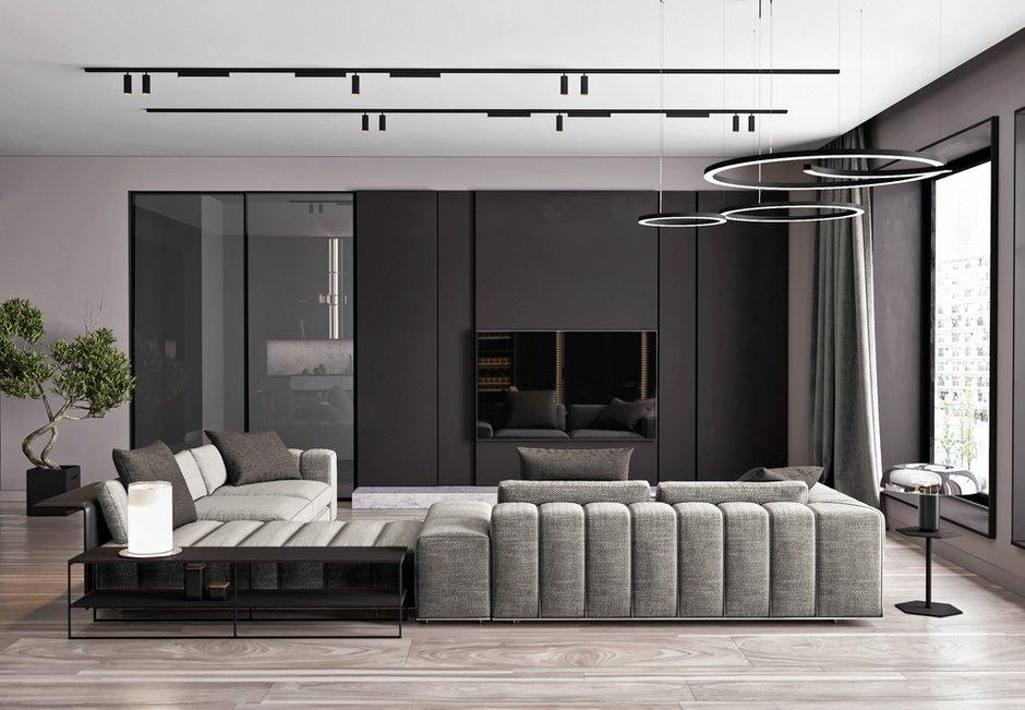 Фотография: Гостиная в стиле Современный, Квартира, Miele, Проект недели, Москва, Quadro room, 4 и больше, Более 90 метров – фото на INMYROOM