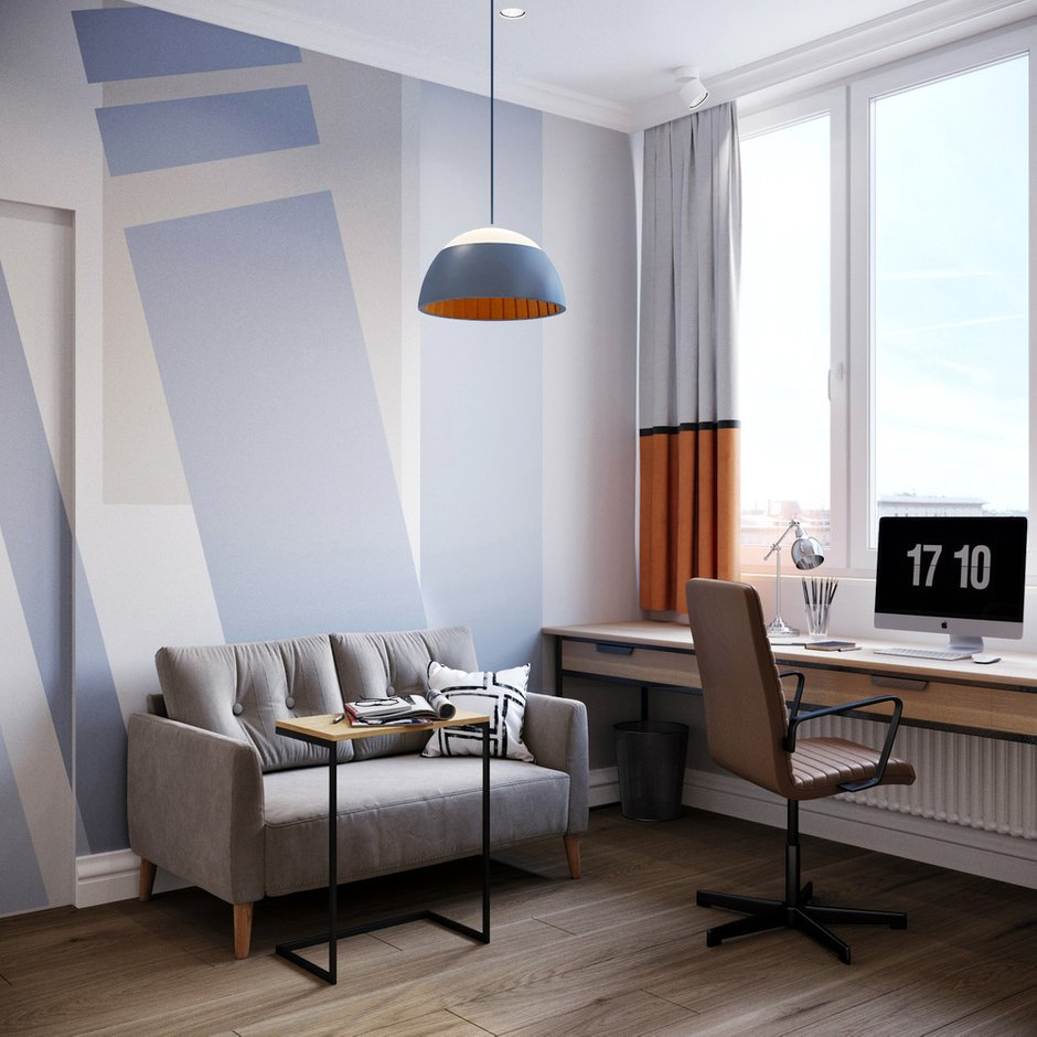 В помещении активно используется геометрия: в локальной выкраске за изголовьем кровати и на стене, где стоит диван, в черно-белом паттерне «гусиная лапка» на ткани кровати.