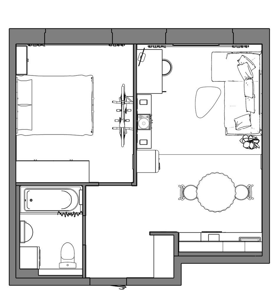 Фотография: Планировки в стиле , Современный, Квартира, Проект недели, Москва, 1 комната, до 40 метров, 40-60 метров, Даша Савченко – фото на INMYROOM