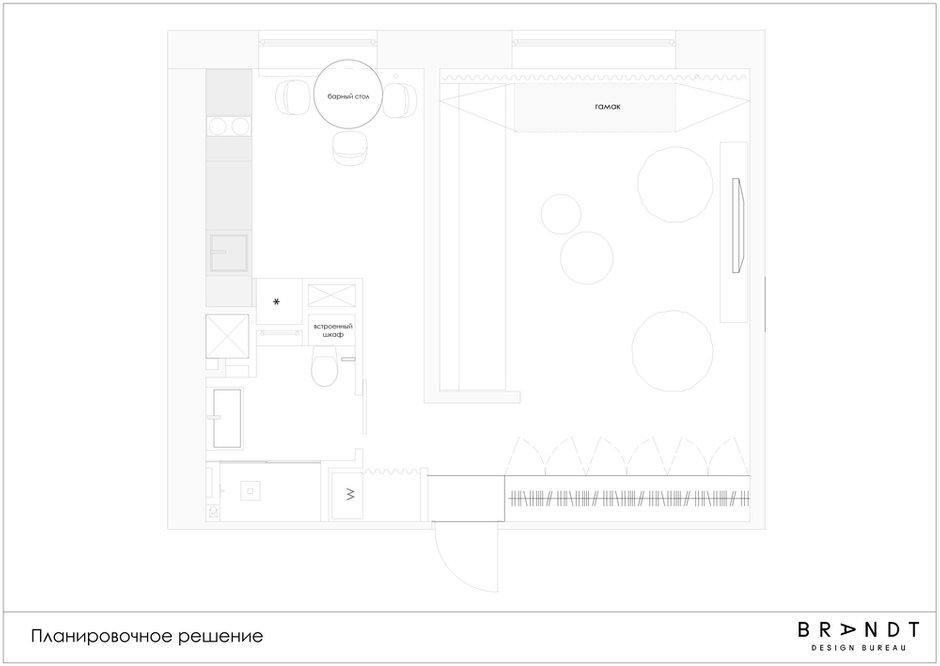 Фотография: Планировки в стиле , Квартира, Проект недели, Москва, Панельный дом, 1 комната, 40-60 метров, Анастасия Брандт – фото на INMYROOM
