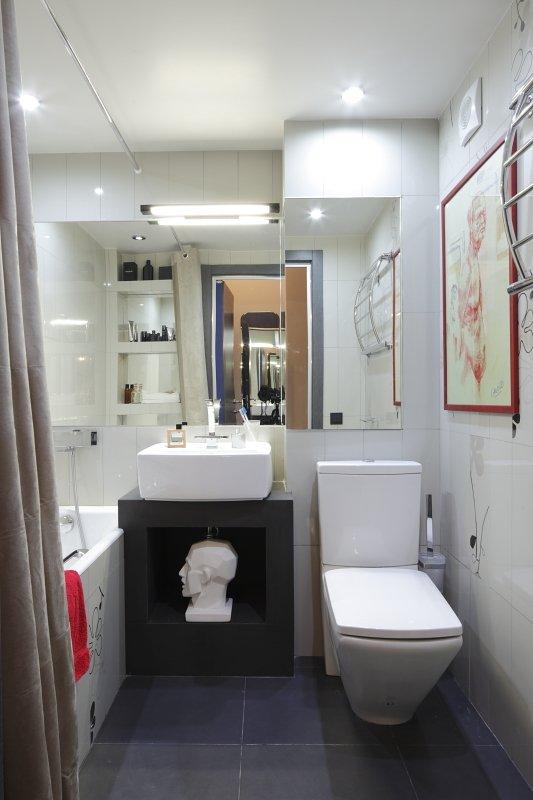 Фотография: Ванная в стиле Хай-тек, Малогабаритная квартира, Квартира, Студия, Дома и квартиры, Проект недели – фото на INMYROOM