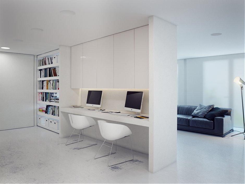 Фотография: Офис в стиле Современный, Хай-тек, Квартира, Цвет в интерьере, Дома и квартиры, Белый – фото на INMYROOM