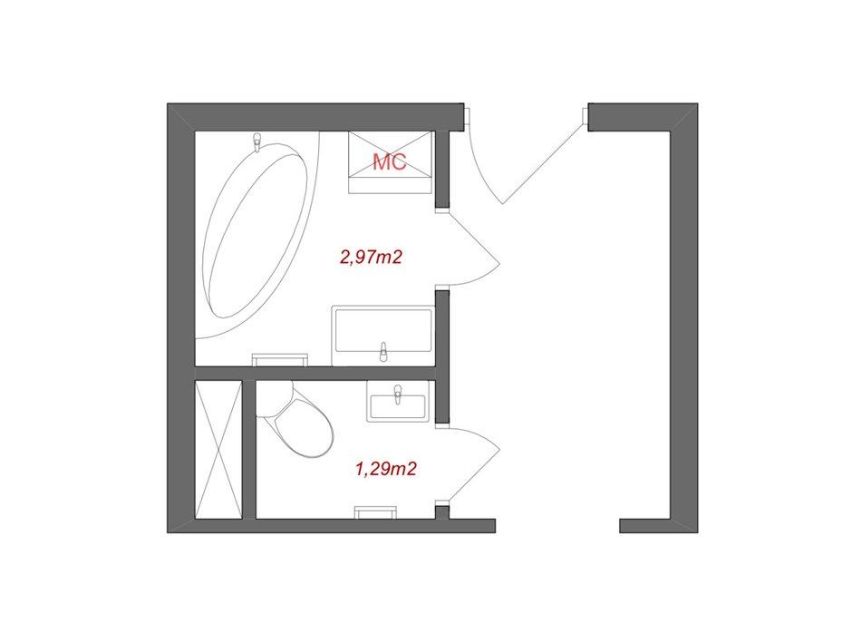 Фотография: Планировки в стиле , Ванная, Квартира, Перепланировка, КОПЭ, Панельный дом, 1 комната, до 40 метров, Татьяна Красикова – фото на INMYROOM