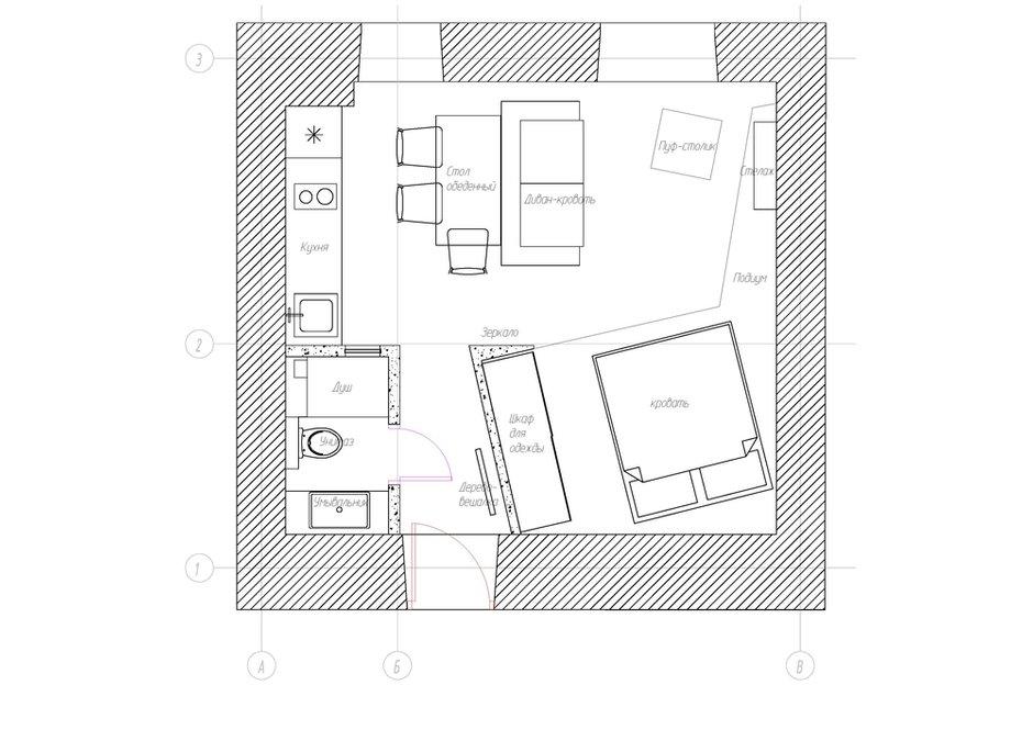 Фотография: Планировки в стиле , Лофт, Студия, Проект недели, Москва, Александр Феськов, Кирпичный дом, до 40 метров – фото на INMYROOM