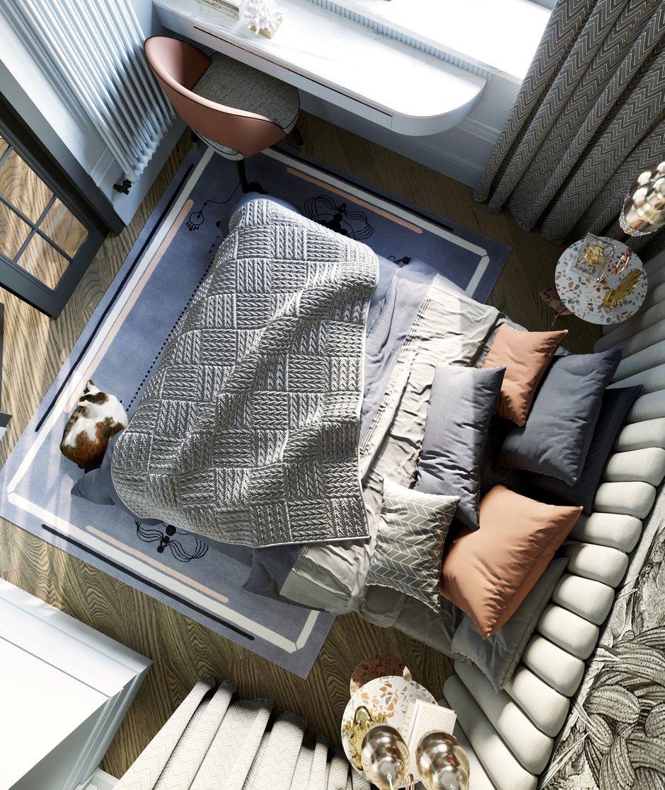 Фотография: Спальня в стиле Современный, Малогабаритная квартира, Квартира, Проект недели, Санкт-Петербург, Сталинка, 1 комната, до 40 метров, АРИНА ТРОИЛОВА – фото на INMYROOM