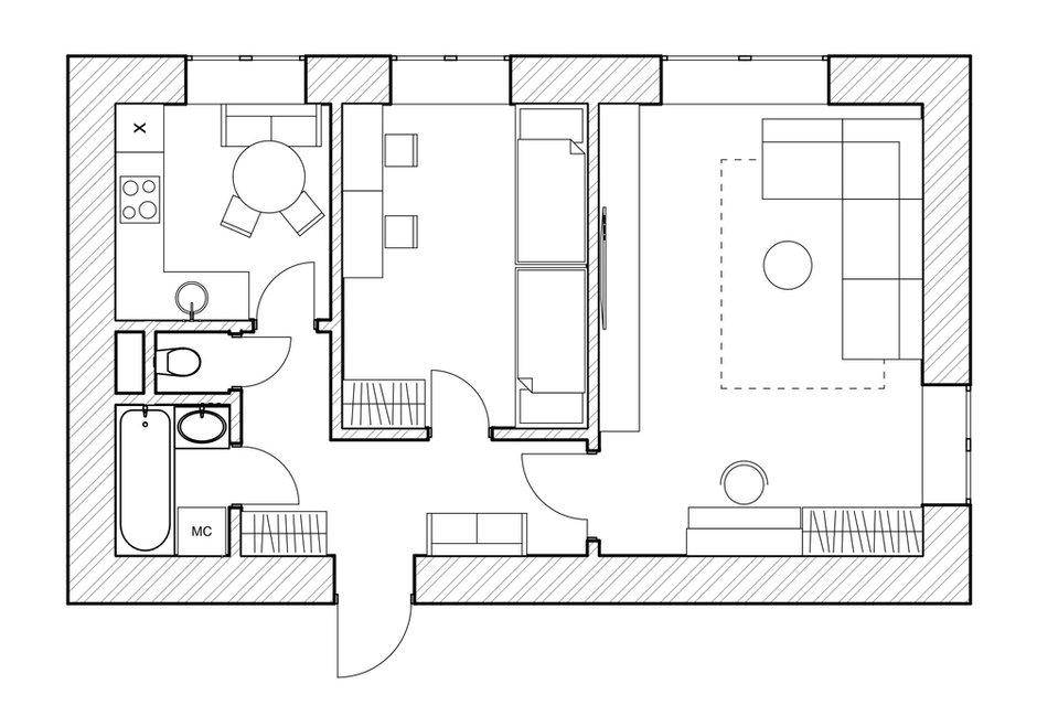 Фотография: Планировки в стиле , Современный, Квартира, Проект недели, Москва, 2 комнаты, 40-60 метров, Алена Рогачева, Полина Масленкина – фото на INMYROOM