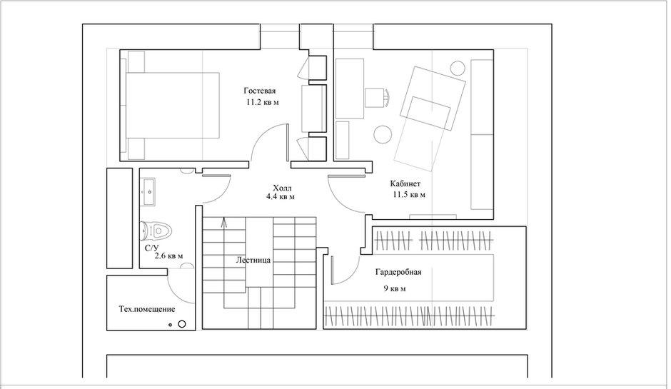 План с расстановкой мебели, 3-й этаж