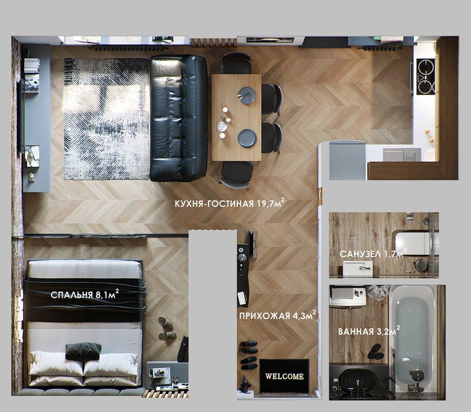 Фотография: Планировки в стиле , Кухня и столовая, Ванная, Гостиная, Спальня, Квартира, Студия, Проект недели, Серый, Коричневый, до 40 метров, ПРЕМИЯ INMYROOM – фото на INMYROOM