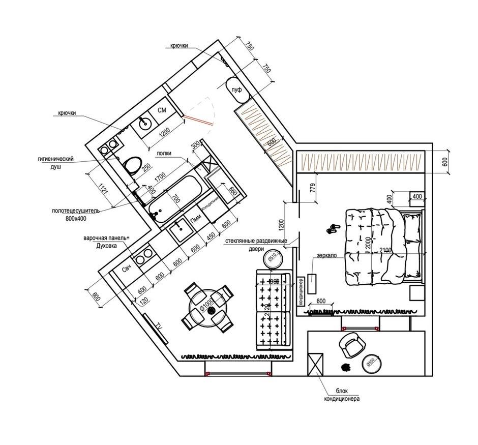 Фотография:  в стиле , Современный, Квартира, Проект недели, Санкт-Петербург, 1 комната, 40-60 метров, Анастасия Заркуа – фото на INMYROOM