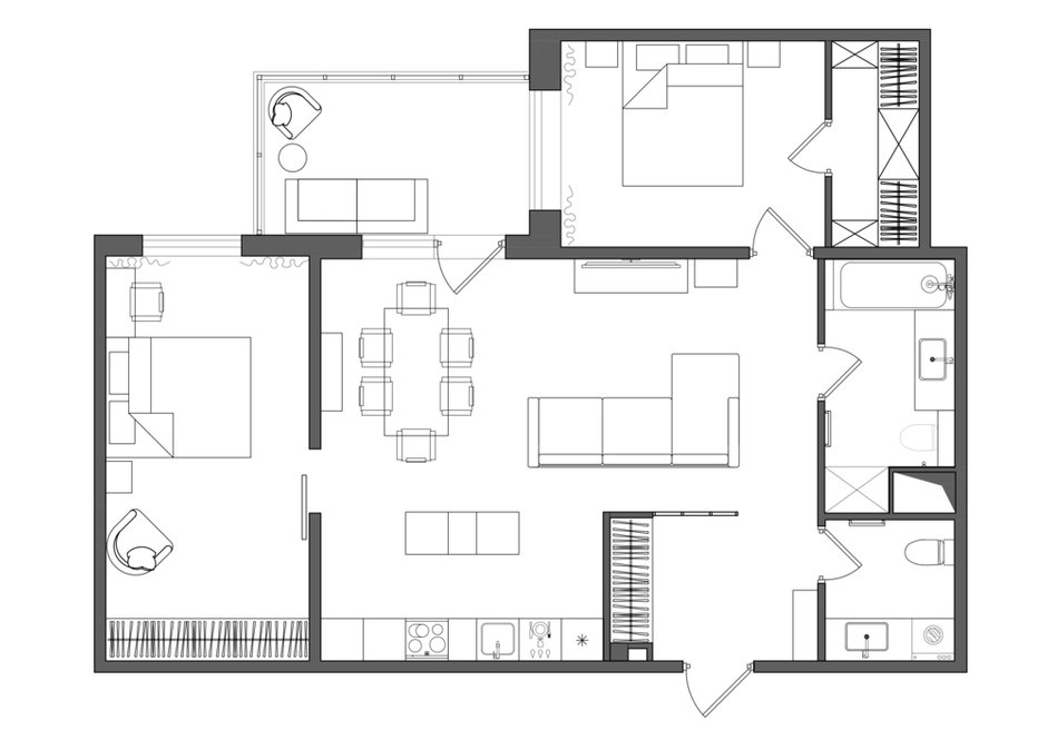 Фотография: Планировки в стиле , Современный, Квартира, Проект недели, Санкт-Петербург, 3 комнаты, 60-90 метров, Светлана Мамаенко – фото на INMYROOM
