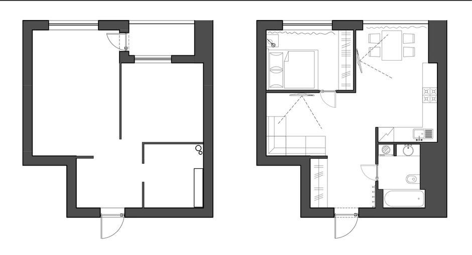 Фотография: Планировки в стиле , Квартира, Проект недели, Москва, Монолитный дом, 1 комната, 40-60 метров, Анна Моджаро, ЖК «Оранж парк» – фото на INMYROOM