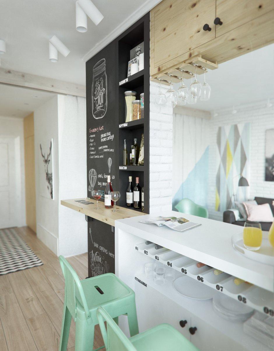 Фотография: Кухня и столовая в стиле Лофт, Скандинавский, Эклектика, Малогабаритная квартира, Квартира, Планировки, Мебель и свет – фото на INMYROOM