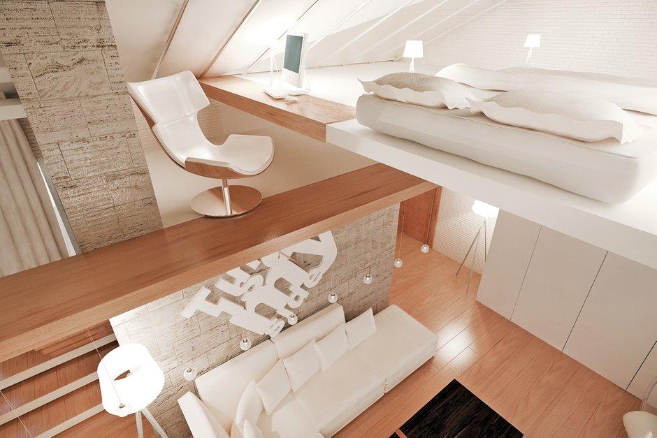 Фотография: Спальня в стиле Современный, Квартира, Дома и квартиры, Проект недели, Мансарда – фото на InMyRoom.ru