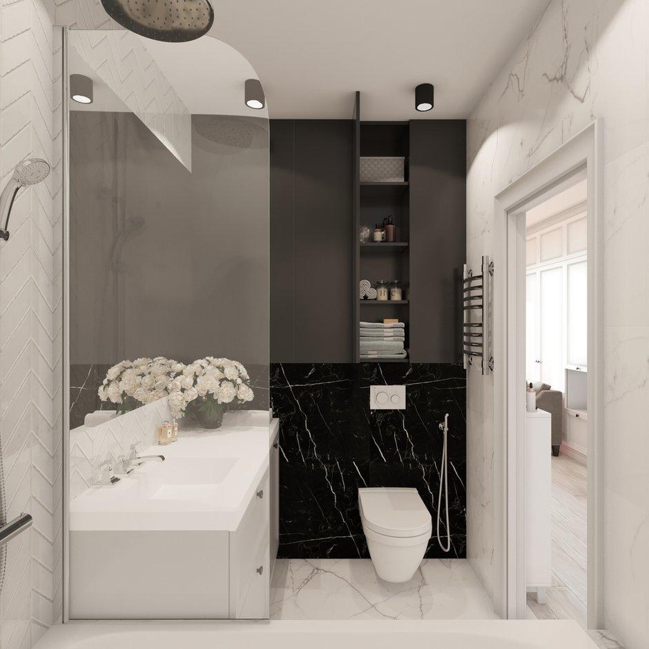 Фотография: Ванная в стиле Современный, Малогабаритная квартира, Квартира, Студия, Проект недели, Монолитный дом, до 40 метров, Котельники, Диана Бганова – фото на INMYROOM