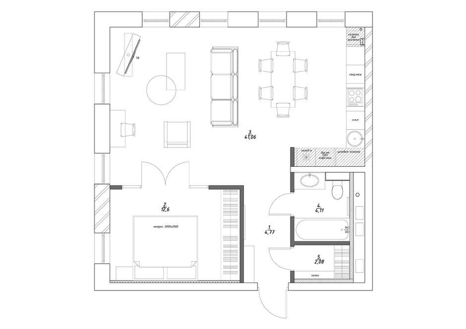 Фотография: Планировки в стиле , Лофт, Эклектика, Квартира, Минимализм, Проект недели, Черный, Подмосковье, дерево в интерьере, инженерная доска, черный потолок в интерьере, 2 комнаты, 60-90 метров, Монолитно-кирпичный, Анна Сухая, коттеджный поселок Западная Долина – фото на INMYROOM
