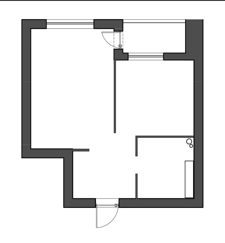 Фотография:  в стиле , Квартира, Перепланировка, Москва, Монолитный дом, 40-60 метров, Анна Моджаро – фото на INMYROOM