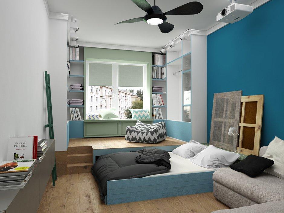 Фотография: Спальня в стиле Лофт, Скандинавский, Квартира, Белый, Проект недели, Синий – фото на INMYROOM