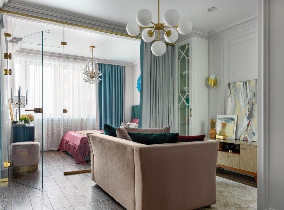 Фотография: Гостиная в стиле Современный, Квартира, Проект недели, Москва, Монолитный дом, 1 комната, 40-60 метров, Серж Махов – фото на INMYROOM
