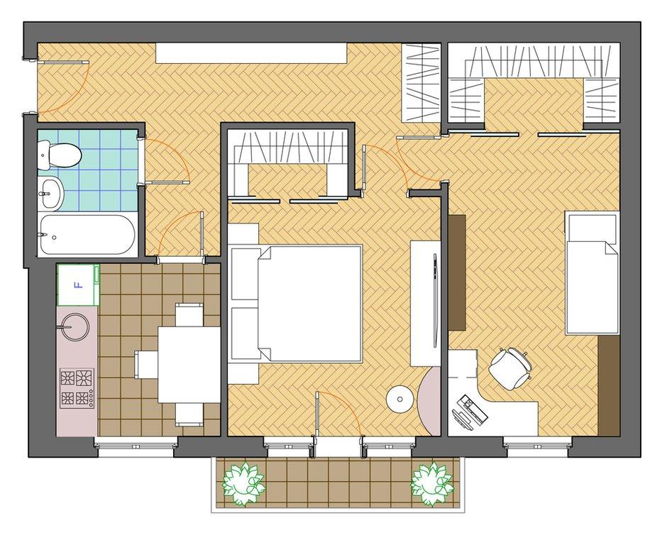 Фотография: Планировки в стиле , Квартира, Дома и квартиры, Перепланировка, Хрущевка – фото на INMYROOM