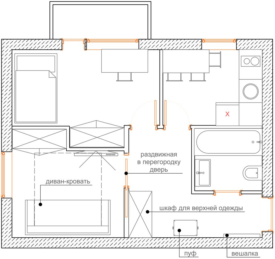 Фотография: Гостиная в стиле Современный, Малогабаритная квартира, Квартира, Планировки, Перепланировка, Кирпичный дом, 1 комната, до 40 метров – фото на INMYROOM