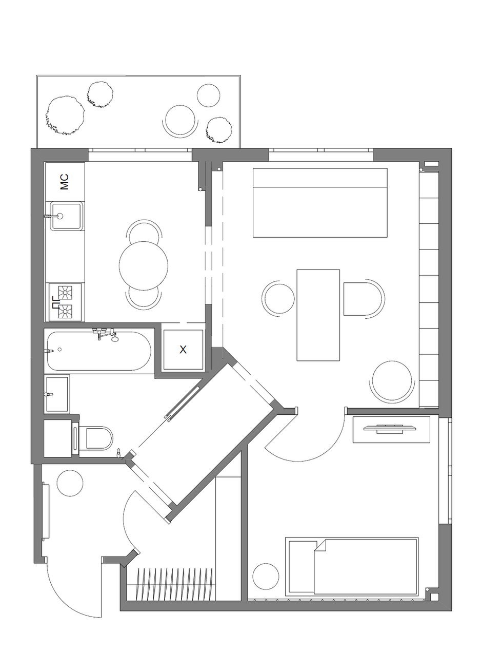 Фотография: Планировки в стиле , Квартира, Проект недели, Москва, Ирина Крашенинникова, Блочный дом, 2 комнаты, до 40 метров, И-210 – фото на INMYROOM