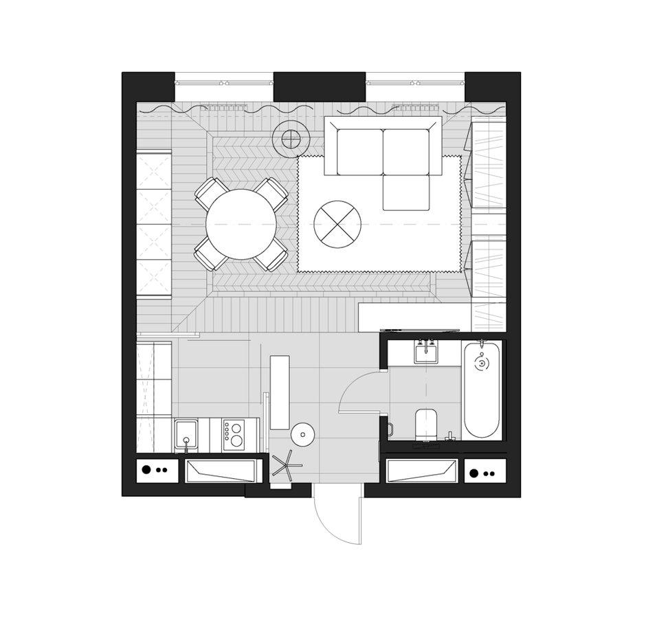 Фотография: Планировки в стиле , Современный, Квартира, Студия, Проект недели, Москва, до 40 метров, Tenso Interiors, Светлана Поздеева – фото на INMYROOM