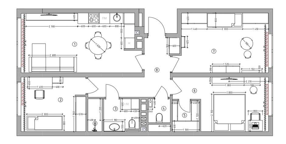 Фотография: Планировки в стиле , Современный, Квартира, Проект недели, 3 комнаты, 60-90 метров, Тюмень, Александра Хасанова – фото на INMYROOM
