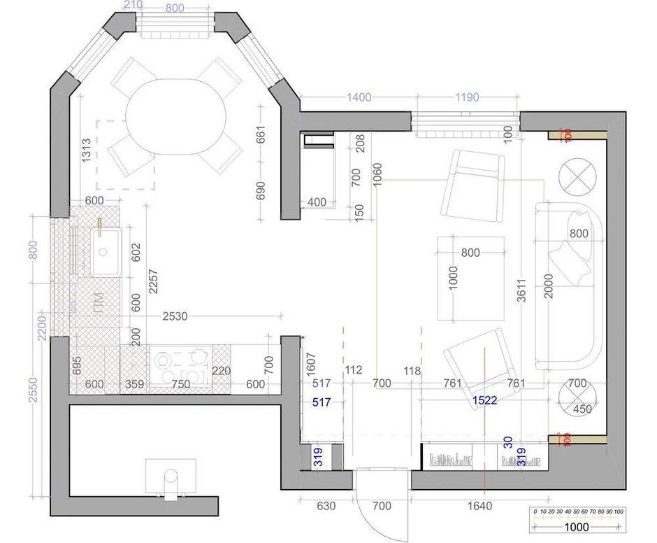 Фотография: Планировки в стиле , Кухня и столовая, Гостиная, Современный, Советы, до 40 метров, Надежда Тертышникова – фото на INMYROOM