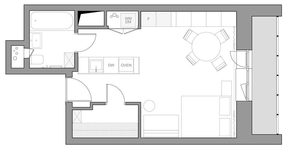 Фотография: Планировки в стиле , Современный, Малогабаритная квартира, Квартира, Студия, Проект недели, Москва, до 40 метров, Елена Соренсен – фото на INMYROOM