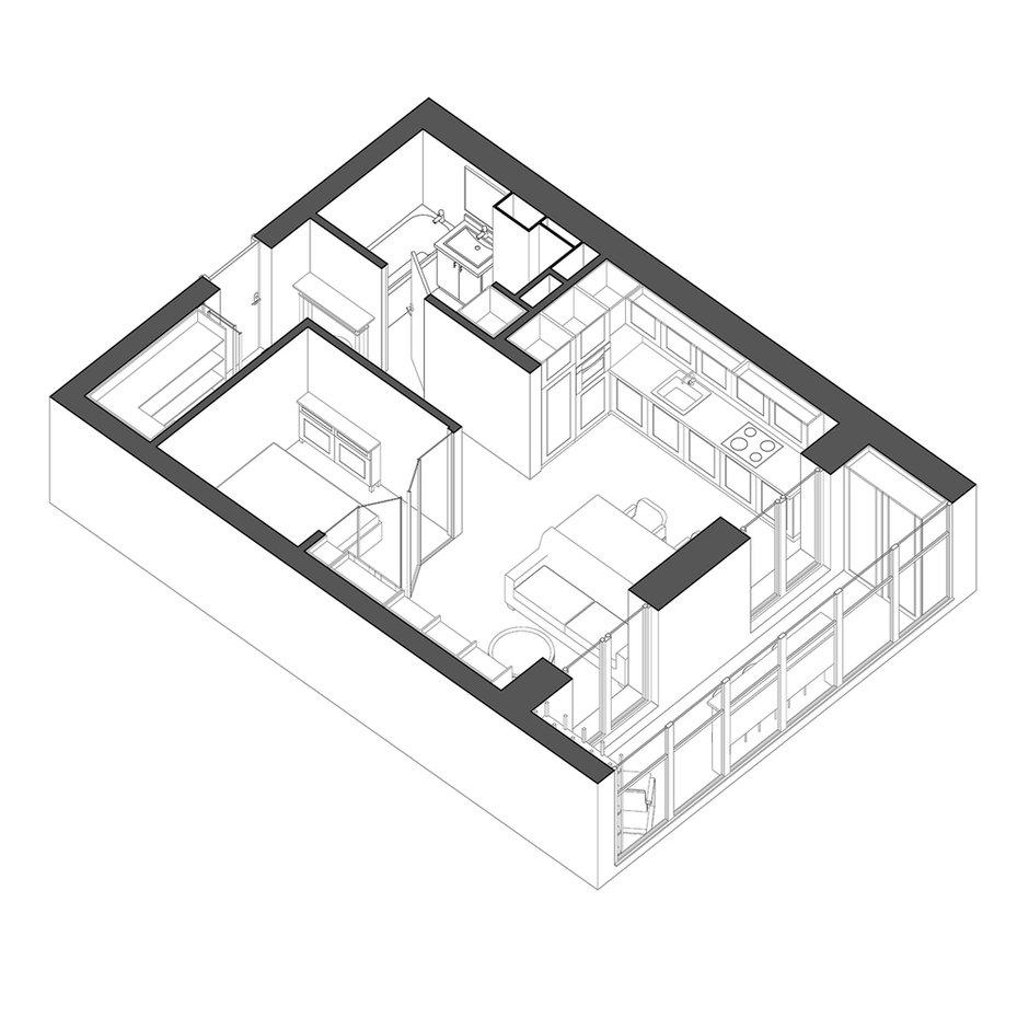 Фотография: Планировки в стиле , Современный, Квартира, Студия, Проект недели, Минск, Монолитный дом, 40-60 метров, ЖК «Маяк», VAE design & architecture – фото на INMYROOM