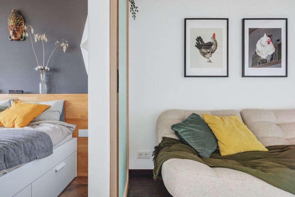 Гостиную и спальню разделяет деревянная дверь со стеклом.