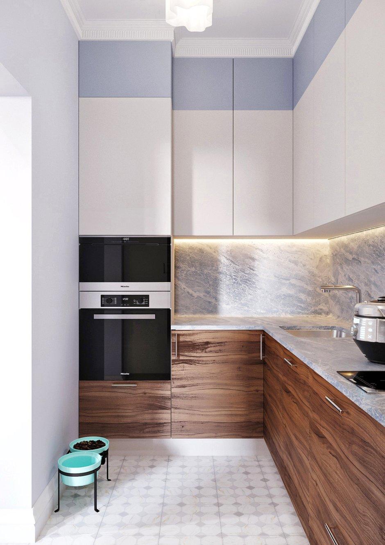 В качестве освещения будут светильники на потолке, также планируется подсветить рабочую поверхность кухни и все шкафчики изнутри.