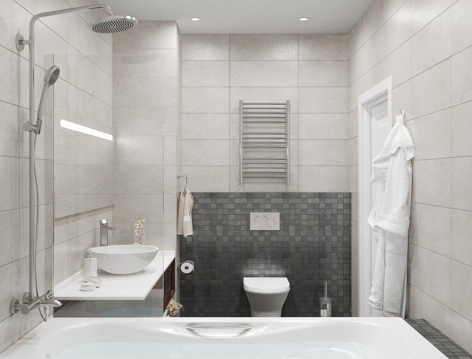 Фотография: Ванная в стиле Современный, Проект недели, Москва, ЖК Фили Град, новостройка, OM Design, Монолитный дом, 3 комнаты, 60-90 метров – фото на INMYROOM