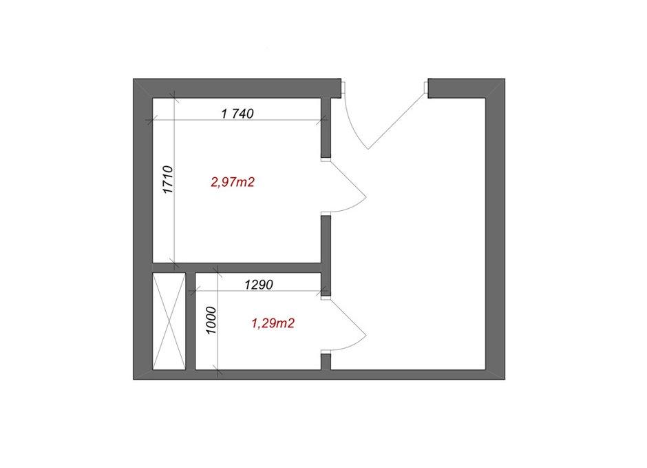 Планировка раздельного санузла в однокомнатной квартире 38,3 кв. м серии КОПЭ