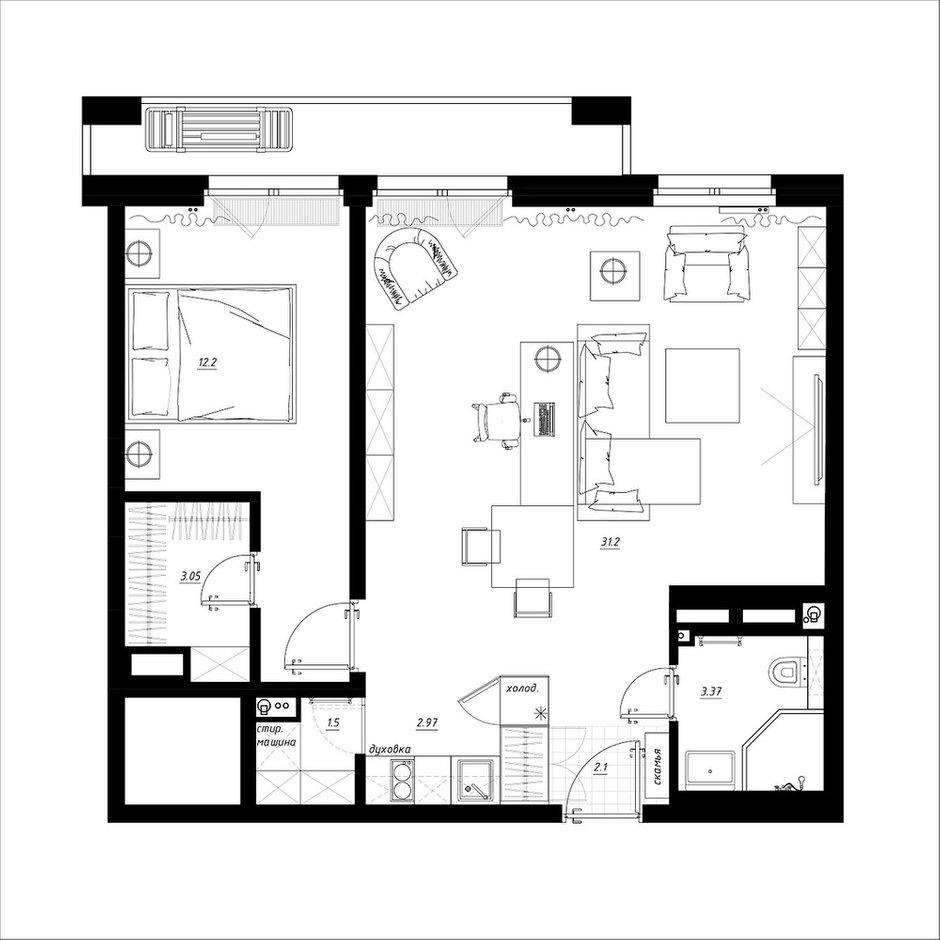 Фотография: Планировки в стиле , Квартира, Перепланировка, Никита Зуб, 2 комнаты, 40-60 метров, планировочная среда – фото на INMYROOM