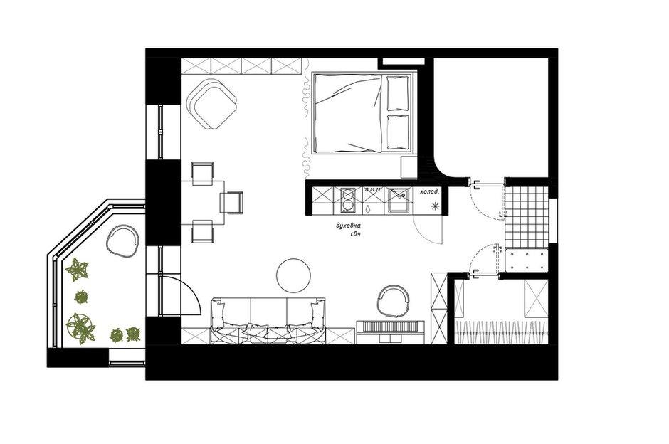 Фотография: Планировки в стиле , Квартира, Студия, Перепланировка, Никита Зуб, Пермь, до 40 метров, планировочная среда – фото на INMYROOM
