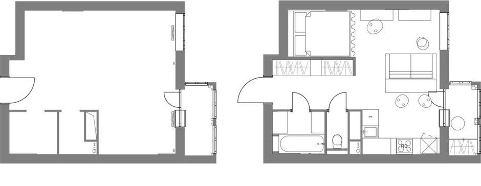 Фотография: Планировки в стиле , Современный, Квартира, Студия, Проект недели, Красногорск, до 40 метров, Мария Синельникова – фото на INMYROOM
