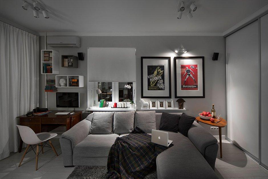 Фотография: Гостиная в стиле Современный, Малогабаритная квартира, Квартира, Дома и квартиры, IKEA, Проект недели, Максим Тихонов, Ольга Мелекесцева, Хрущевка, 1 комната, до 40 метров – фото на INMYROOM