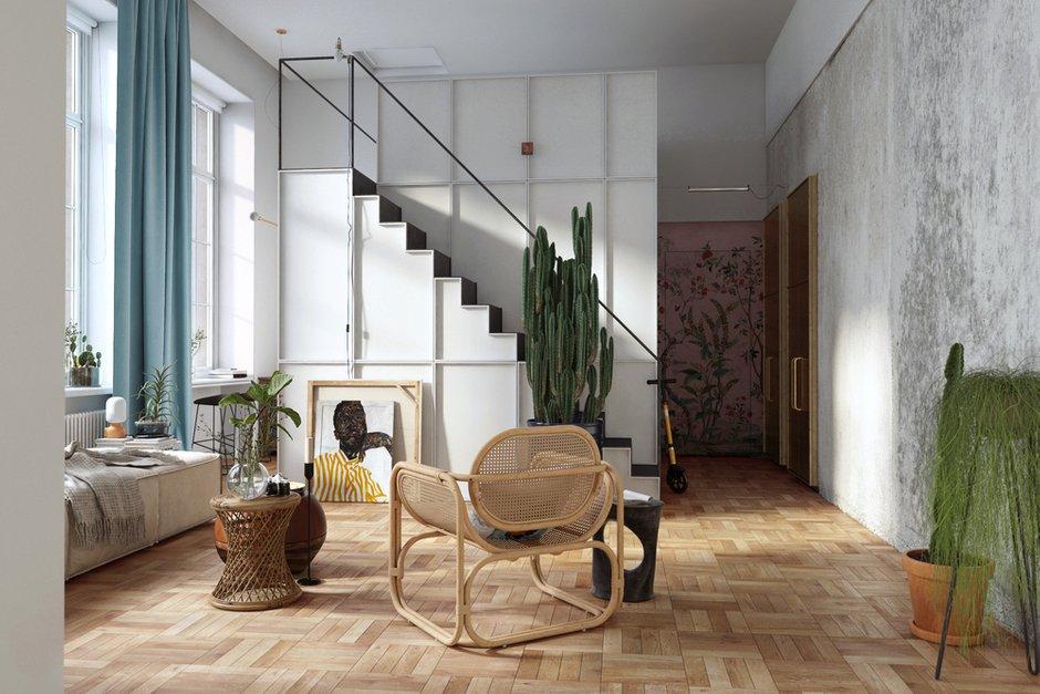 Увлеченность заказчицы комнатными растениями определила ключевое направление в подходе к декорированию. Основная нагрузка здесь отдана именно озеленению пространства.