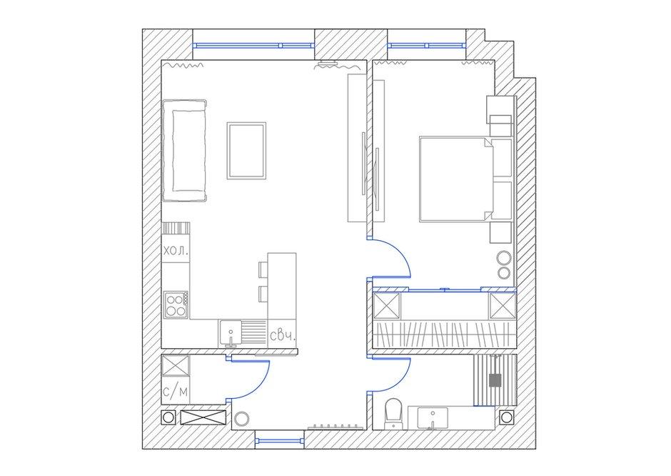 Фотография: Планировки в стиле , Современный, Хай-тек, Квартира, Проект недели, Москва, Артем Габриэльян, новостройка, Монолитный дом, 2 комнаты, 40-60 метров, 60-90 метров – фото на INMYROOM