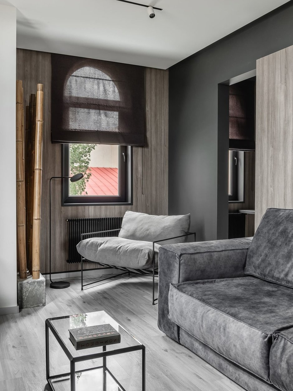 Фотография: Гостиная в стиле Лофт, Кухня и столовая, Спальня, Квартира, Черный, Серый, ПРЕМИЯ INMYROOM – фото на INMYROOM
