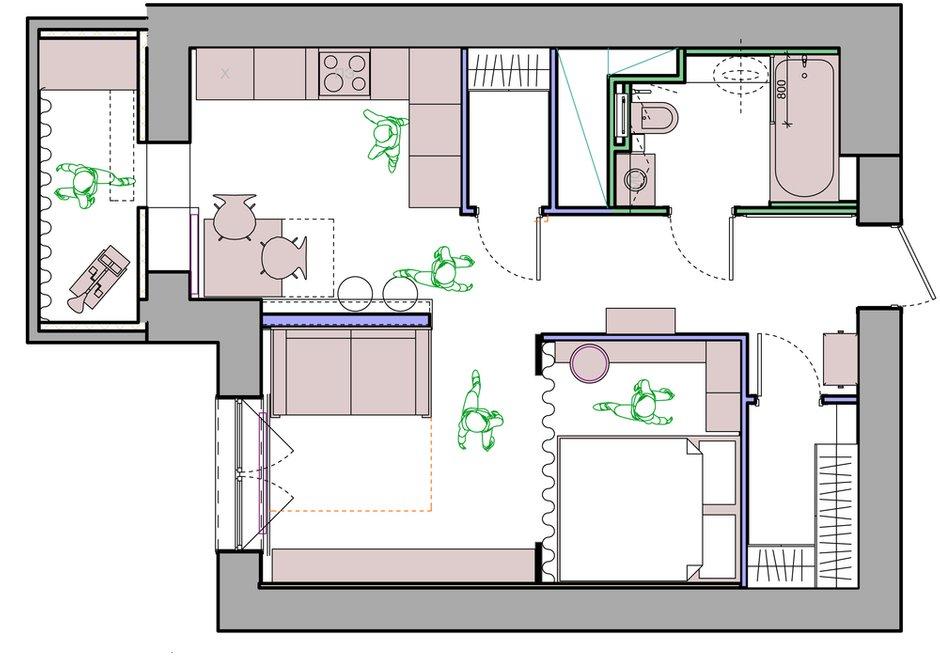 Фотография: Планировки в стиле , Квартира, Проект недели, Москва, Монолитный дом, 1 комната, 40-60 метров, Алла Апалкова – фото на INMYROOM